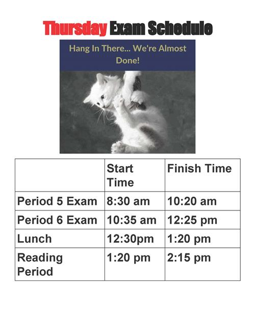 Thursday Exam Schedule